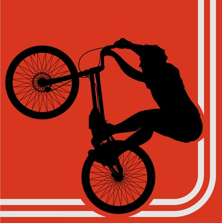 Professional trial mountain bike rider background vector Vector