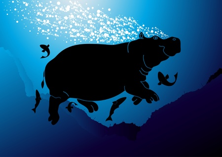 riff: Cute hippopotamus swimming Illustration