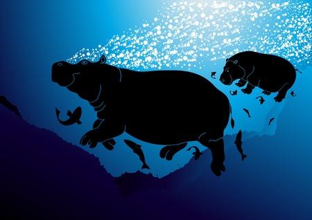 Cute hippopotamus family swimming lesson Vector
