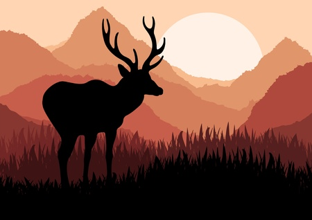 Animated deer in wild forest foliage illustration Stock Vector - 10492630