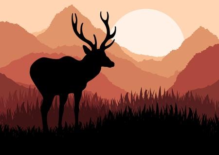 incendio bosco: Cervi animato in illustrazione selvatici fogliame della foresta Vettoriali