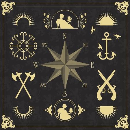 navy ship: Vintage sailor marine elements illustration collection