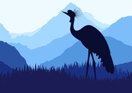 Animated crane in wild nature landscape illustration Vector