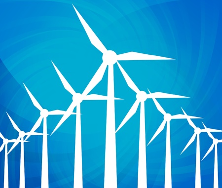 Wind alternative energy generator blue vector background Vector