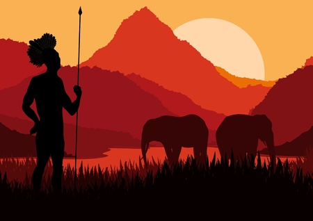 indian village: Animated elephant family and native hunter in wild nature landscape illustration