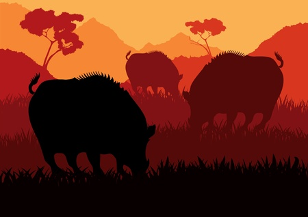 Animated wild boar flock in wild nature landscape illustration Vector