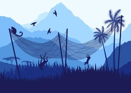ornithologist: Monkeys and fishing net in wild nature landscape Illustration