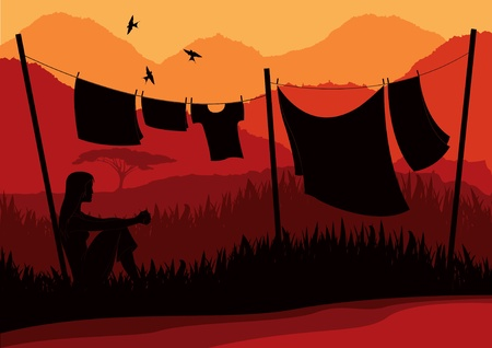 Animated women drying clothes in wild africa landscape
