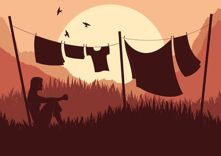 animated women: Animated women drying clothes in wild africa landscape