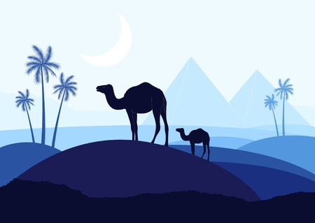 Camels with pyramids in wild africa landscape Vector