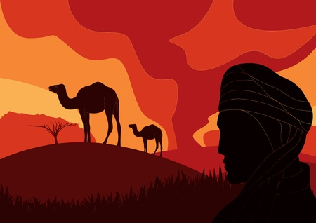 bedouin: Bedouin with camels in wild africa sand storm foliage Illustration