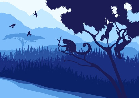 Monkeys and wild nature landscape Vector