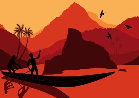 Fisherman boat in wild africa landscape illustration Vector