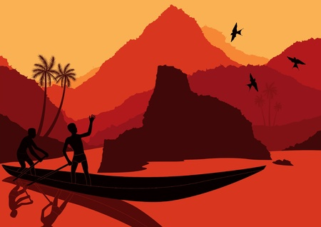 indian fish: Fisherman boat in wild africa landscape illustration
