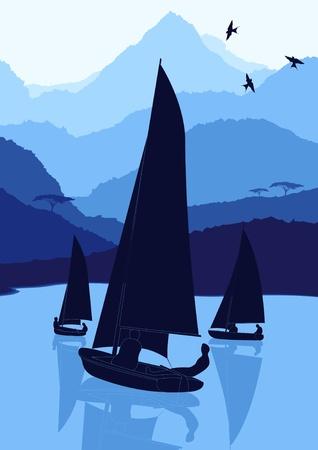 Animated yacht regatta sailing in wild nature landscape illustration
