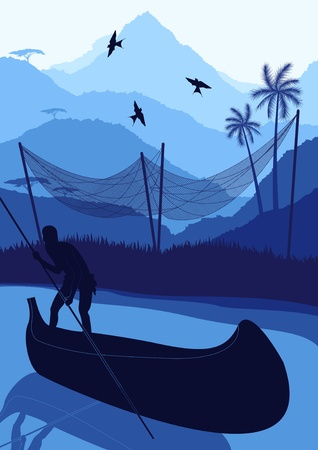 fisherman boat: Animated fisherman in wild africa foliage illustration