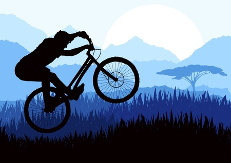 Mountain bike trial rider in wild africa nature landscape illustration Stock Vector - 10510712