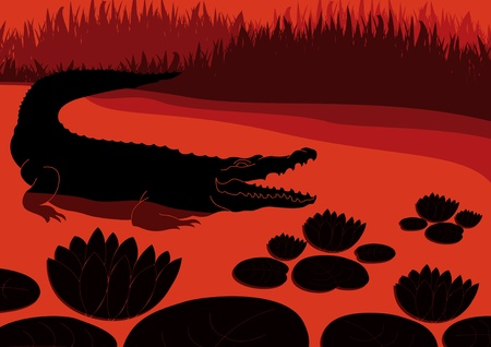 grab: Animated hungry crocodile in wild nature landscape illustration Illustration