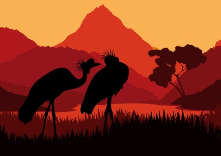 Animated crane couple in wild nature landscape illustration Stock Vector - 10510702