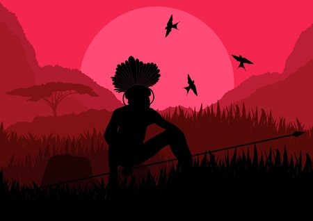 morning rituals: Native african hunter in wild nature landscape illustration