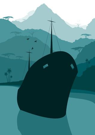 Fishing ship in wild nature landscape illustration Vector