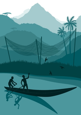 Animated fisherman in wild africa foliage illustration Vector