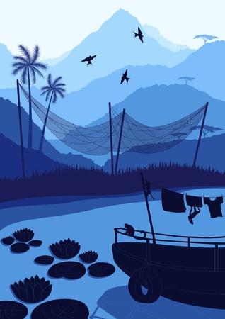 fishing boat: 야생의 자연 풍경 그림에 원숭이와 낚시 보트