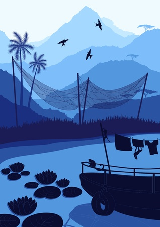 boatman: Fishing boat with monkeys in wild nature landscape illustration