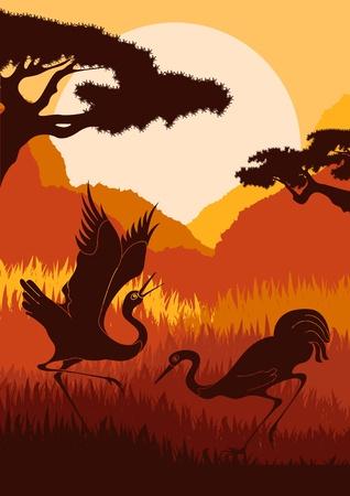 Animated crane couple in wild nature foliage illustration Stock Vector - 10510729