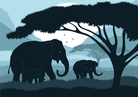 Cute elephant family in wild africa landscape Stock Vector - 10510750