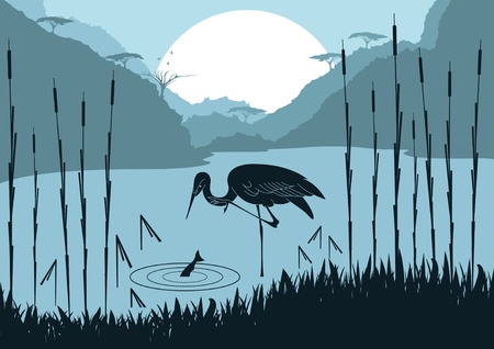 Animated heron hunting fish in wild nature foliage illustration Ilustração