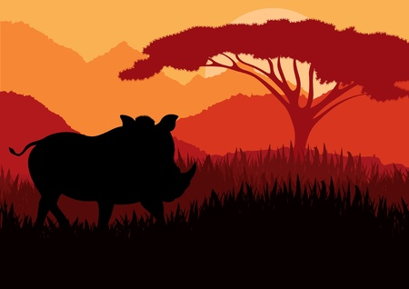 Animated wild boar flock in wild nature landscape illustration Vector