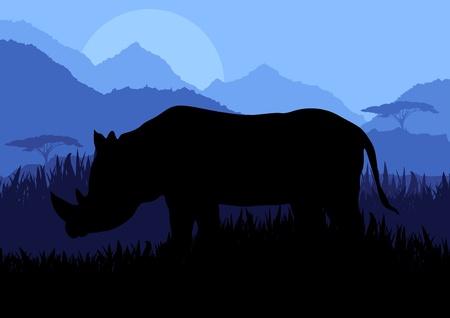 Animated rhino in wild nature landscape illustration Vector