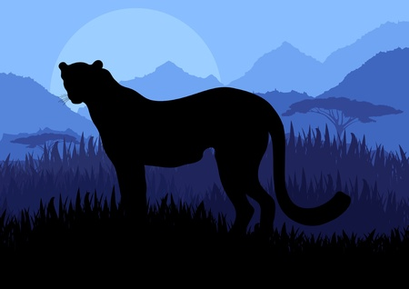 ferocious: Animated cheetah hunting in wild nature landscape illustration Illustration