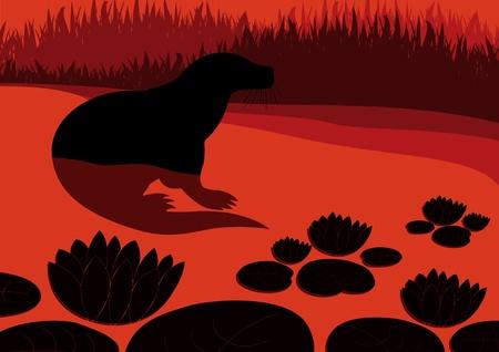 nutria caricatura: Cute dibujos animados de nutria en el agua lirio ilustración estanque