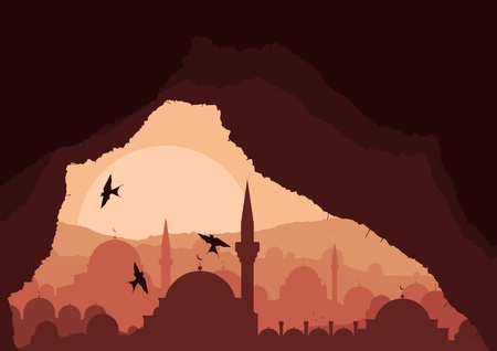 istanbul night: Magic cave view on islamic city landscape Illustration