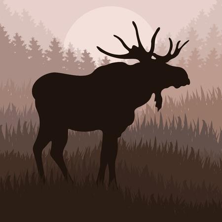 bosbrand: Geanimeerde elanden in de wilde natuur landschap illustratie