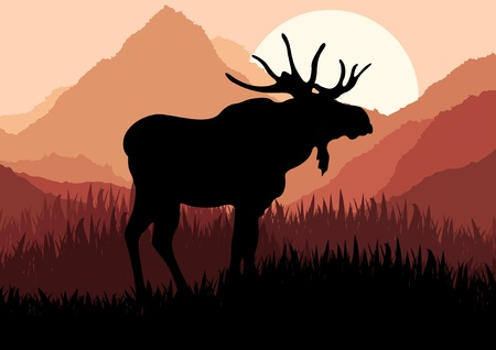 alces alces: Alces animados en ilustraci�n de paisaje de naturaleza salvaje