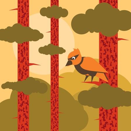 p�jaro carpintero: Carpintero de animaci�n en la ilustraci�n paisaje de pinos del bosque Vectores