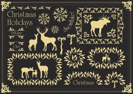 Vintage christmas floral mistletoe frames and elements illustration Vector