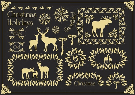 victorian christmas: Vintage christmas floral mistletoe frames and elements illustration