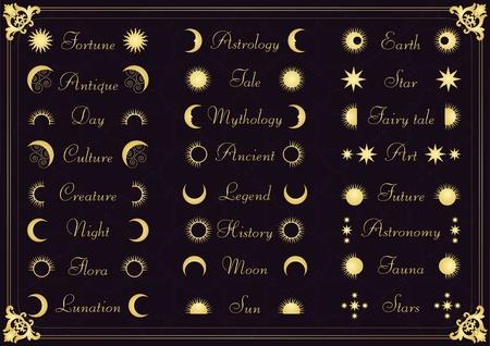 sonne mond und sterne: Jahrgang kalligraphische Elemente Astronomie Illustration Sammlung