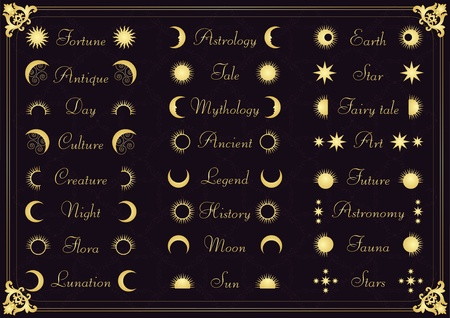 old moon: Vintage calligraphic astronomy elements illustration collection