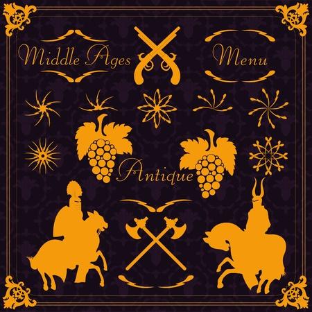 Vintage medieval menu frames and elements illustration collection Vector