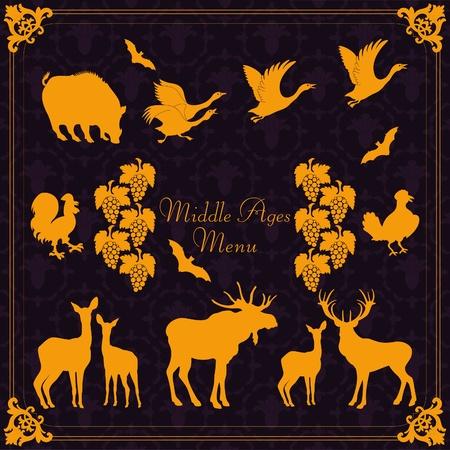 moose symbol: Vintage medieval menu frames and elements illustration collection Illustration