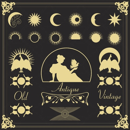 old moon: Vintage frames and elements illustration collection Illustration