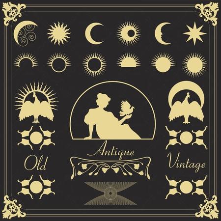 astronomie: Vintage-Rahmen und Elemente Illustration Sammlung Illustration