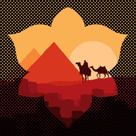 Pyramids and camel caravan in wild africa landscape illustration Stock Vector - 10510684