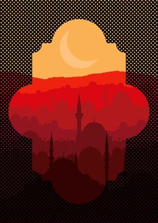 Vintage turkish city Istanbul landscape illustration Vector