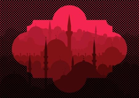middle east: Vintage turkish city Istanbul landscape illustration